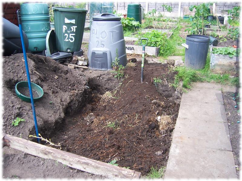 Compost raking in progress