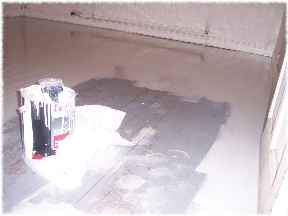 All but sorted with our daft o'clock floor painting in the castle