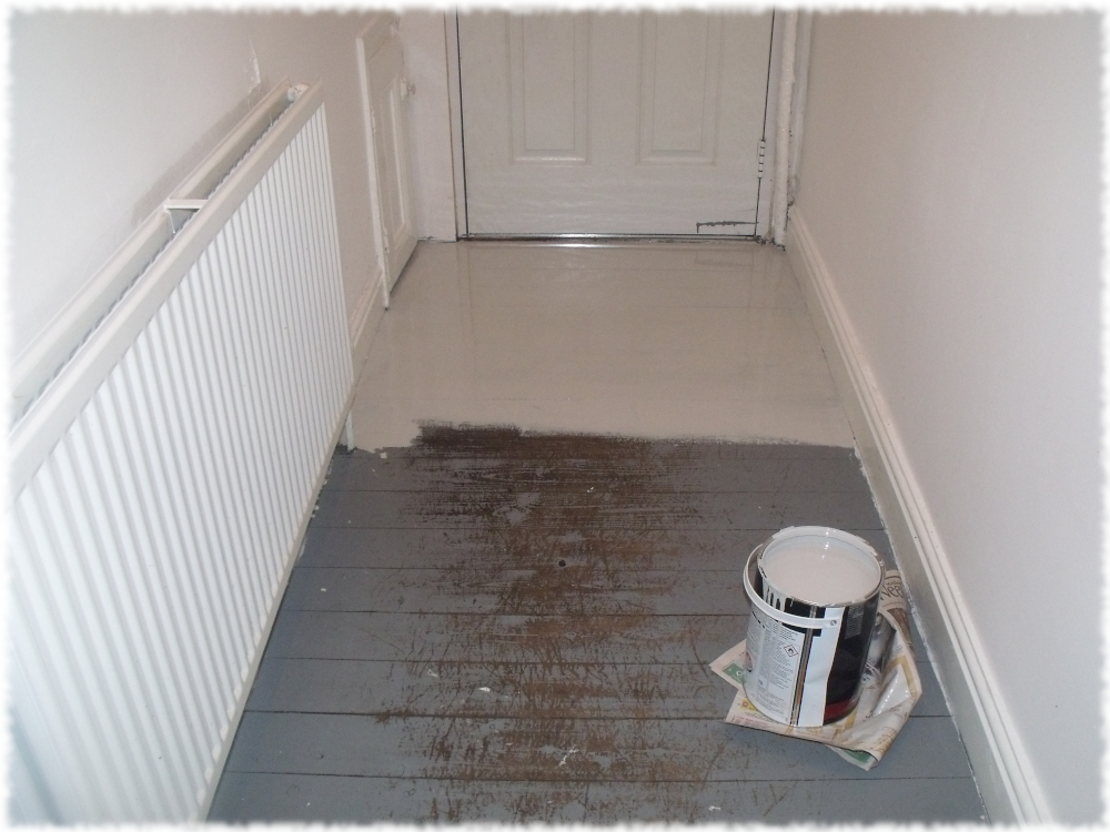 No rush, no worries & no stress in me head, painting the castle floor board by board
