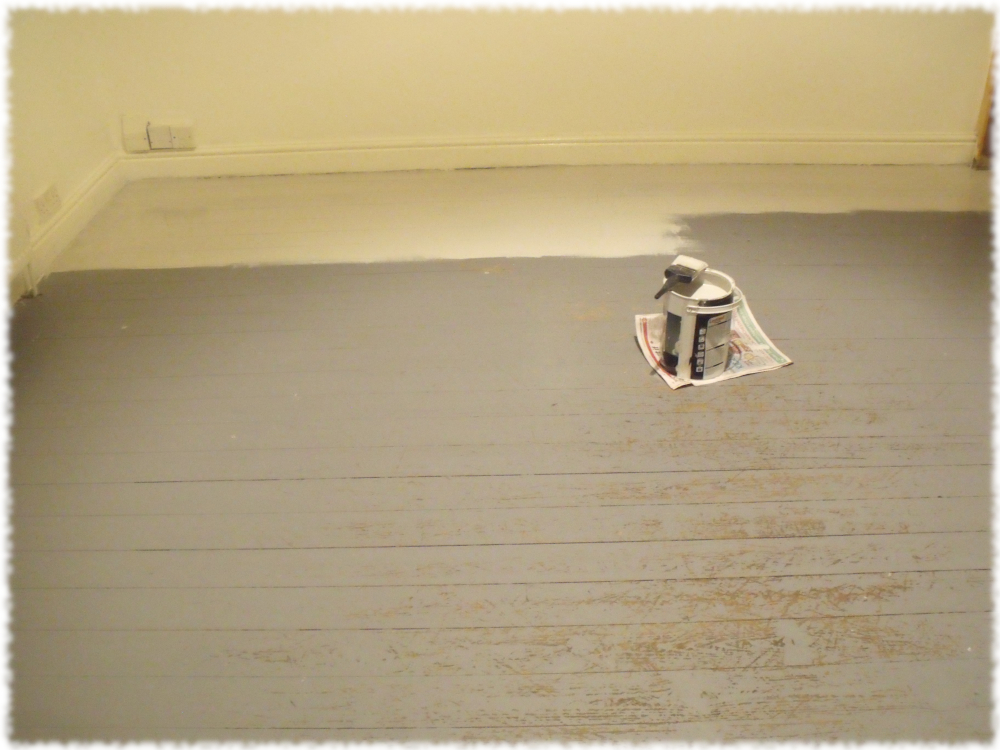 Made a start on painting the front room floor. For no other reasn than. Just Because...