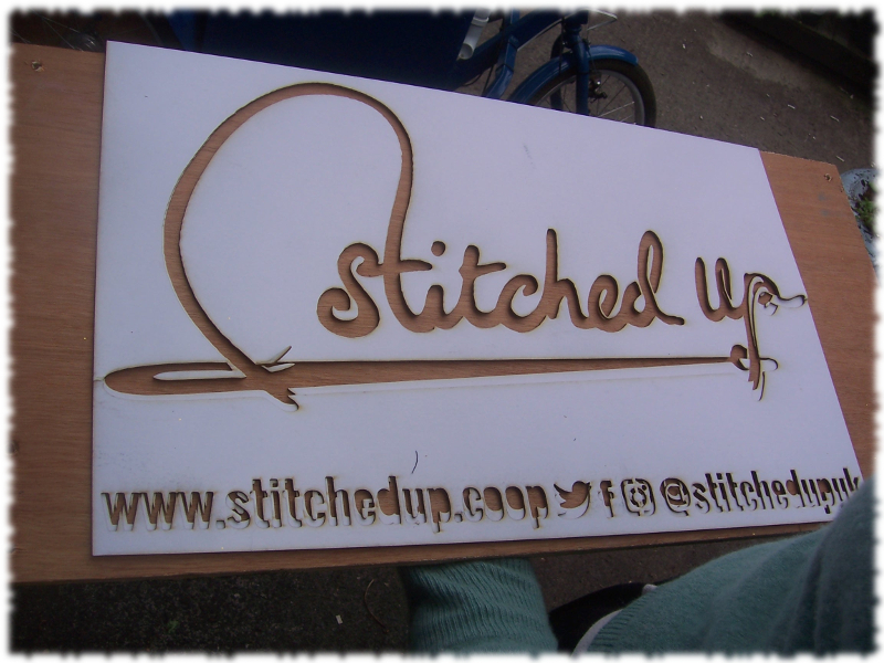 New sign for Stitched Up bike trailer